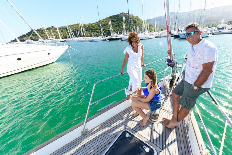 Toscana in barca, famiglia